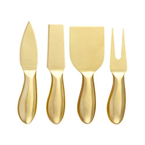 Scicalife Cuchillos para Queso Cortador de Queso de Acero Inoxidable de Primera Calidad Cuchillos de Queso Dorado para El Desierto Fáciles de Limpiar Y Agarrar Accesorios para Tablas de
