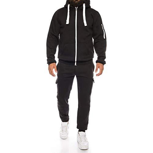 iLOOSKR Autumn Winter Outdoor Comfy Sports Suit Men's Solid Zipper Hoodie Sweatshirt Pants Sets Tracksuit