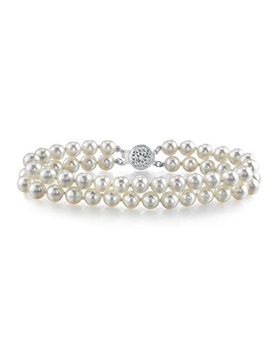 6.0- 6,5 mm giapponesi Akoya-Braccialetto con perle d'acqua dolce, colore: Bianco