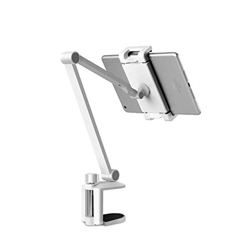 XIAOHUTAO Tablet Stand Rotating Long Arm Mobile Phone Holder Height/Angle Adjustable Aluminium Alloy Tablet Mount,White