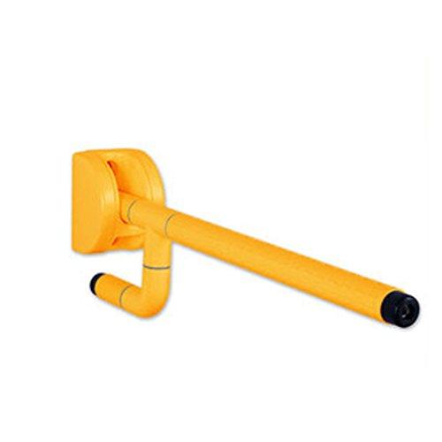 Dongyd Main courante en acier inoxydable Barre d'appui pour la main courante Mur Ressort lumineux avec poignée antidérapante - Gouttes vers le bas et rabattables (Couleur : Le jaune)