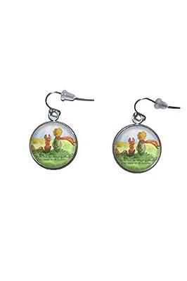Boucles d'oreilles suspendues en acier inoxydable, diamètre 20 mm, fait à la main, illustration Le Petit Prince 2