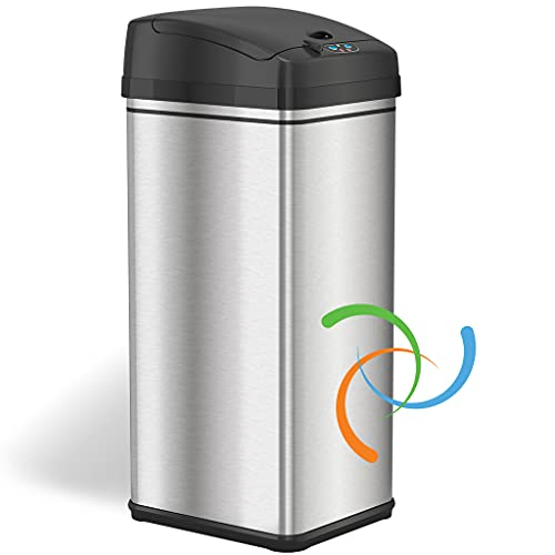 iTouchless 13 Gallon Automatic Trash Can with Odor-Absorbing Filter and Lid Lock, Power by Batteries (not included) or Optional AC...