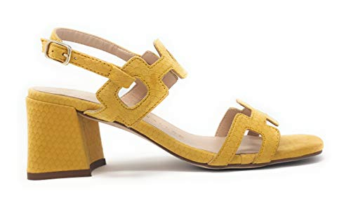 Sandalias de Mujer de Pedro Miralles de napa escama Girasol con Cierre Tipo Hebilla