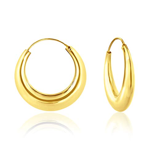 DTPsilver - Damen - Creolen Dick - Ohrringe 925 Sterling Silber Gelb Vergoldet- Dicke 5.5 mm - Durchmesser 30 mm