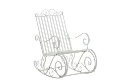 Mecedora De Hierro Smilla I Mecedora Relax De Jardín I Mecedora De Exterior En Estilo Rústico I Sillón Mecedora De Balcón o Terraza I Color:, Color:Blanco