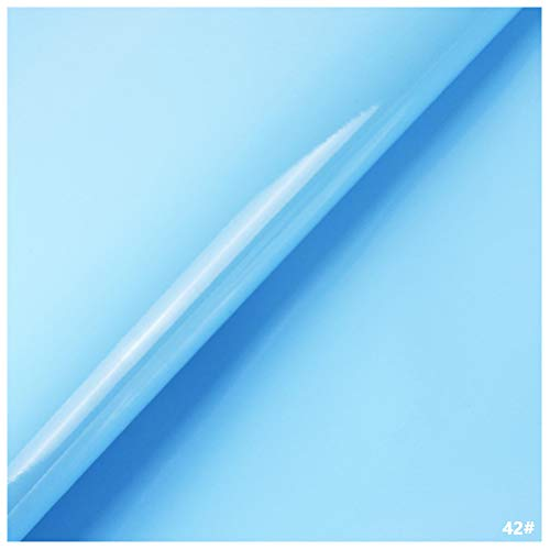 Tela de Cuero Sintético de PVC, Tapicería de Cuero Sintético para Decoración de Interiores de Automóviles Bolsa de Renovación de Sofás Regalos - Material de Charol (Cielo Azul)(Size:1.38x4m)