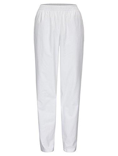 DESERMO® Schwesternhose Schlupfhose mit Gummibund aus reiner Baumwolle | Pflegerhose | bequeme Medi Hose - Gr. 48, Weiß