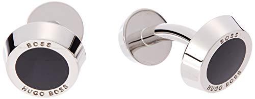BOSS Herren Simony Runde Manschettenknöpfe mit Emaille-Einsatz und Logo-Gravur.