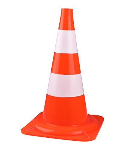 Schellenberg 73190, orange/blanc, Cônes de signalisation en plastique, 50 cm de haut, trou de préhension, sécuriser les endroits dangereux, pour le football et agility chien