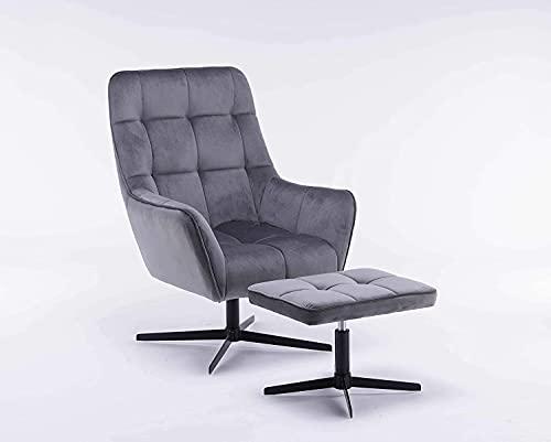SEPNINE Ergonomischer Relaxsessel TV Sessel mit Hocker Set Samtbezug Grau