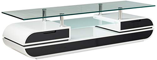 Furniture of America Glenn Contemporary TV Console/Stand, 63-Inch, Glossy Black and White