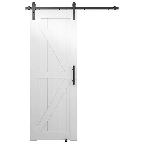 Genius Iron White PVC 30in x 84in Single Barn Door Whole Kit with 5FT Sliding Door Hardware & Handle Set & Floor Guide, Easy to Assemble, Water-Proof, Scratch-Resistance, Slight Reflection, K Shape