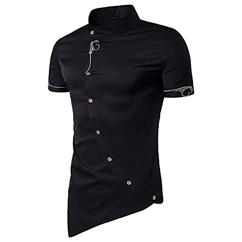 Camisa Hombres Transpirable Slim Fit Cuello Alto Hombres Shirt Irregular Botones Moda Hombres Shirt Ocio Manga...