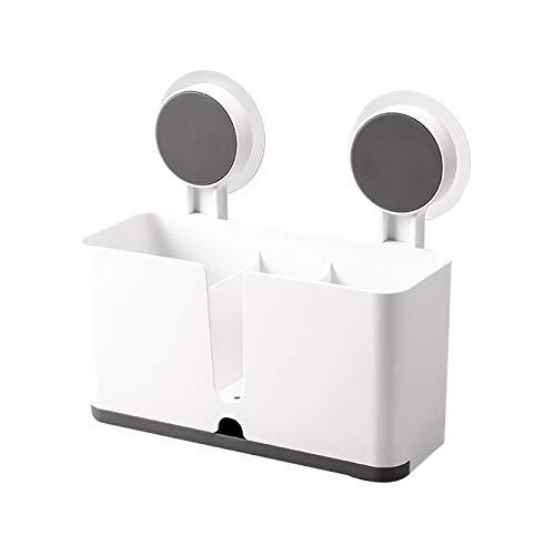 Küchenutensilienhalter Küche Drainer Rack Spülbecken Organizer mit 2 Saugnäpfen für Schwamm Bürste Topfkratzer Essstäbchen Schwammhalter Küchenablage