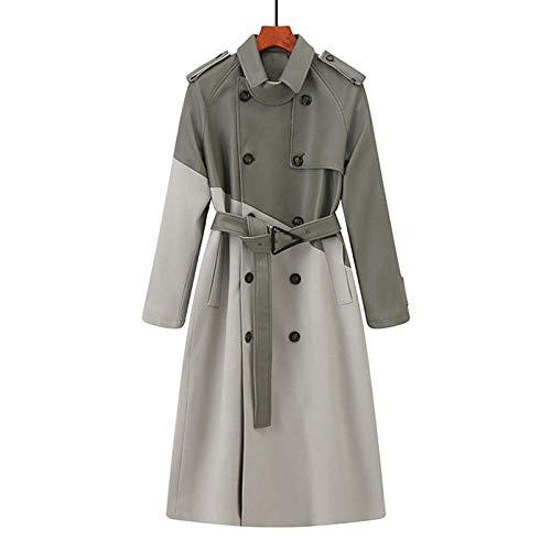 Jskdzfy Chaquetas Mujer Ropa Trench Coat Long Coat Chaqueta y Abrigo Contraste Mujer Resistente al VIENTO Doble Pecho Abrigos Mujer (Color: Gris Claro, Tamaño: Medio)