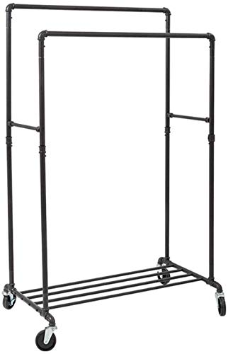 Statues Simple Double Pole Drying Rack Industrial Pipe Clothes Rack On Wheels Double Hanging Rail, Shelf Outdoor Mobile Hanger Coat Rack