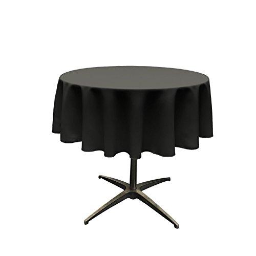 LA Linen Polyester Poplin Tablecloth 51-Inch Round, Black