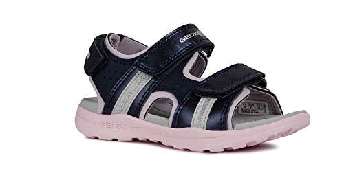 Geox VANIETT Girl J926AB Mädchen Trekking Sandalen,Kinder Outdoor-Sandale,Sport-Sandale,Aussensteg,3-Fach Klett,Navy/LT PINK,32
