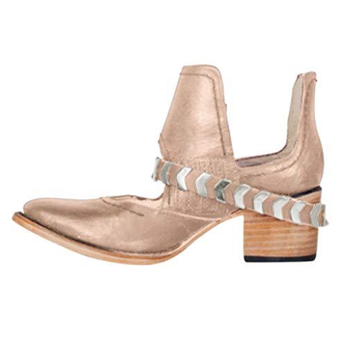 GJKK Damen Stiefel Stilvolle Flache Spitze Damen Schuhriemen Schnalle Niedrige Westernstiefeletten
