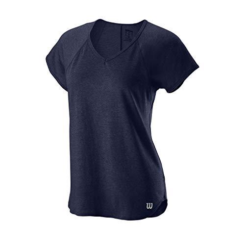 Wilson Femme, T-Shirt de Tennis Col V, W TRAINING V-NECK TEE, Polyester/Nylon, Bleu (Peacoat), Taille XS, WRA775904