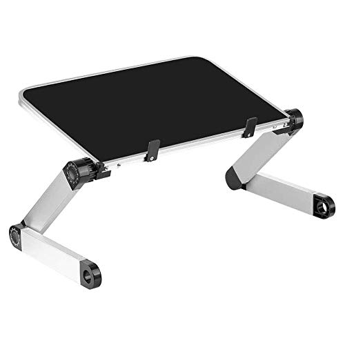 XWX Foldable Laptop Stand Ergonomic Portable Laptop Table For Bed Tray PC Table Aluminum Stand Notebook Table Desk Stand (Color : Black)