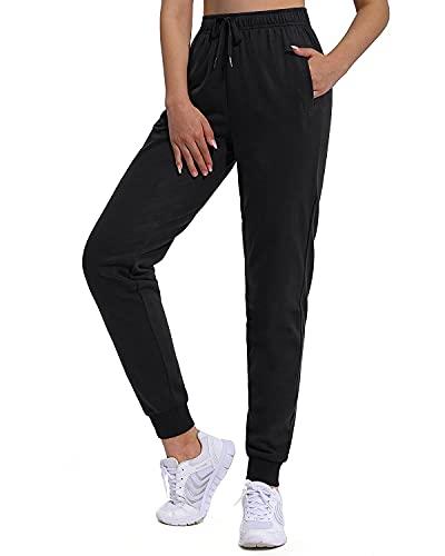 OUGES Damen Jogginghose Baumwolle Lang Sporthose Freizeithose Traininghose Sweathose für Frauen Elastischer Bund mit Taschen(Schwarz,M)