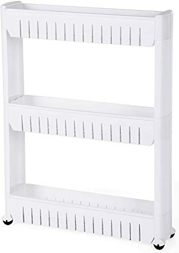 G4RCE 0B-HTJW-5KJ0I Slim Slide Out Kitchen Trolley Storage Shelf Organiser Moving Wall Cabinets Tower Holder Rack on Wheels 3 4 Tier, White