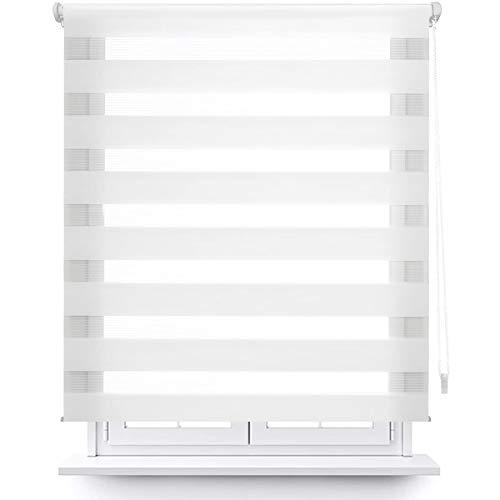 MERCURY TEXTIL Estor Enrollable de Doble Capa, Noche y Día, translúcido y oscurecido (160 x 180 cm, Blanco)