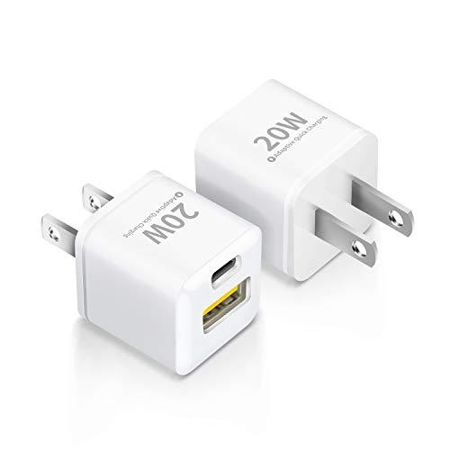 【2個セット】 PD 充電器 20W USB-C 急速充電器 2ポート Type-c 急速充電器 (USB-C&USB -A/PSE認証済/Power Delivery 3.0/超小型) ACアダプター 軽量 スマホ充電器iPhone 12 / 12 Pro /12 Mini/ 11/11 Pro/iPad Air(第4世代)/Android その他 各種機器対応