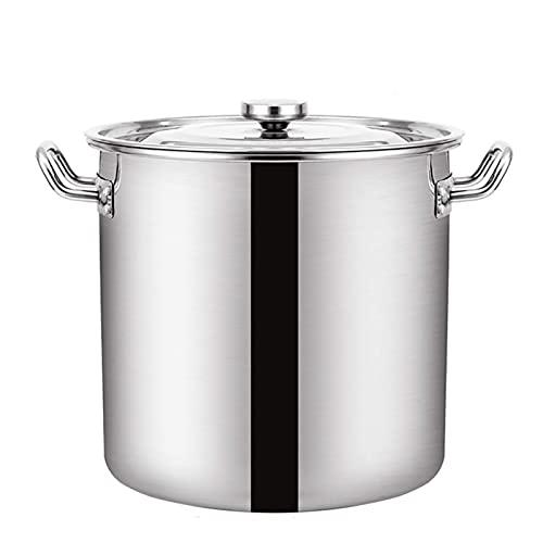 Vaporización de utensilios de cocina Bottine, catering comercial/nacional 304 acero inoxidable espesado olla de sopa grande con tapa para estufa de gas/cocina de inducción (Size : 120L)
