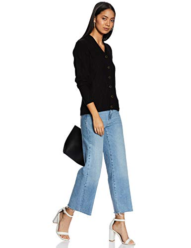 Park Avenue Women's Synthetic Cardigan (PWWF00651-K886_Black_86)