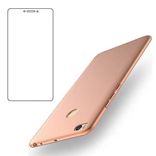 BLUGUL Funda Xiaomi Mi MAX 2 + Gratuito Protector de Pantalla, Ultra Delgado, Totalmente Protector, Sensación de Seda, Dura Cover para Xiaomi MAX 2 Oro Rosa
