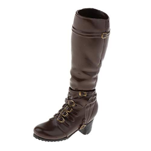 Baoblaze 1/6 Kampfstiefel Damen Leder Militärstiefel für 12 Zoll hot Toys - Braun, wie beschrieben