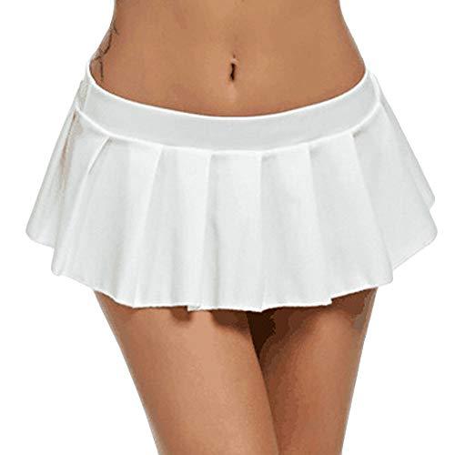 TIFIY Mini Rock Schulmädchen Rock Kurz Minirock Röcke Frauen Sexy Dessous Pure Farbe gefaltet Nachtwäsche Reizvolle Unterrock(Weiß,M