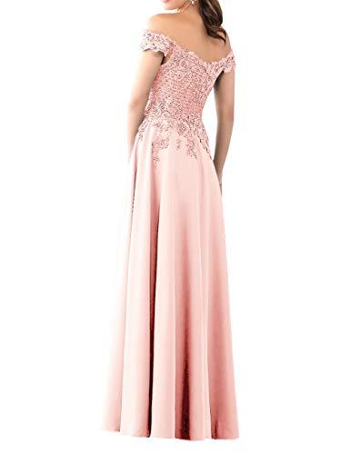 HUINI Abendkleider Lang Chiffon Ballkleid Brautjungfernkleider Spitze Brautkleider Vintage Hochzeit Partykleider Rosa 50
