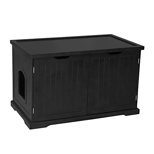 Merry Products Decorative Hidden Bench with Enclosed Cat Litter Washroom Box and Litter Bag Storage Cats, Black