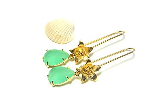 Ohrringe Gold plattiert Blüten Opal-Glas mint grün