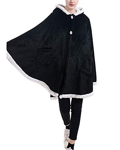 YAOTT Damen Flauschig Weich Kuscheldecke Kapuzenpulli Einfarbig Winter Schal Umhang Cape Coat - Poncho Wickeldecke mit Ärmel & Taschen Schwarz 154 * 107cm