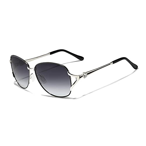 KUNIUO Gafas De Sol para Mujer Gafas De Sol De Lujo Lente Polarizada Degradada Gafas De Sol Redondas Mariposa Oculos Feminino-Gray Gradient