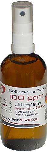 Kolloidales Platin 100 ppm 100ml, Pumpsprüher, Ultrarein 99,99%, immer frisch hergestellt (pharm. Sterilwasser, Braunglas-Euromedizinflasche, keine Lagerware!)