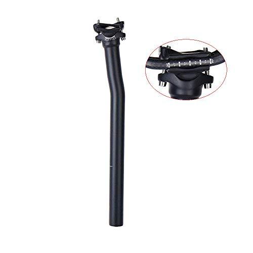 QIKU Fibra de Carbono Bicicleta Tija de sillín Offset 7° Negro Mate (Offset 7°-31.6×350mm)