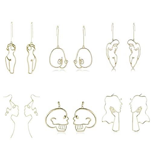 Abcidubxc Juego de 6 pares de pendientes abstractos de cuerpo abstracto para mujer, originales de Freedom Female Body Pendientes para piercing
