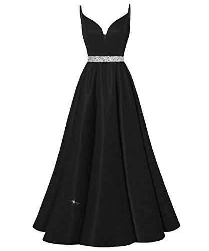 HUINI Abendkleider Lang Vintage Ballkleider Abiball Promkleider Glitzer Damen Hochzeitskleider Prinzessin Rückenfrei Partykleider Schwarz 50