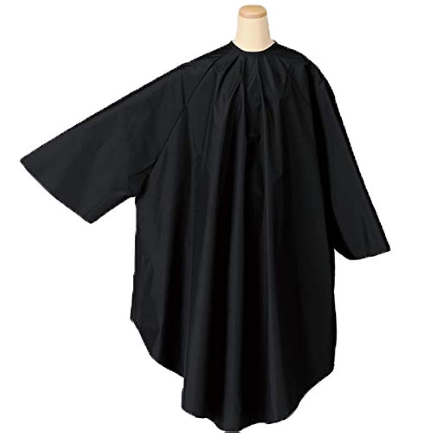 スプーン冷ややかなアレキサンダーグラハムベルエルコ 9722 BIG 袖付 ヘアダイクロス (ヘアカラー&パーマクロス) ナイロン100% 防水加工 ELCO 毛染め/カラーリング (ブラック/首回り52cm)
