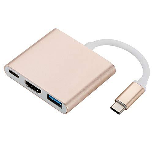 Adaptador USB C a HDMI Tipo C a 4K HDMI Hub con convertidor Digital USB 3.0, Puerto de Cargador USB C Compatible con Nintendo Switch/MacBook iMac/Note 9/ChromeBook (Dorado)