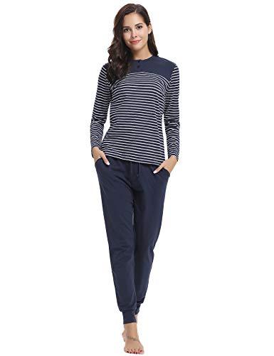 Hawiton Damen Schlafanzug Pyjama Lang Gestreift Hausanzug Baumwolle Nachtwäsche mit Tasche Oberteil Hose für Herbst Winter (Dunkelblau-94, L)