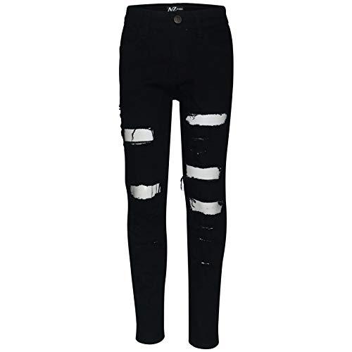 A2Z 4 Kids Bambini Ragazzi Magro Jeans Progettista Jet Nero Denim - Jeans JN57 Jet Black_9-10