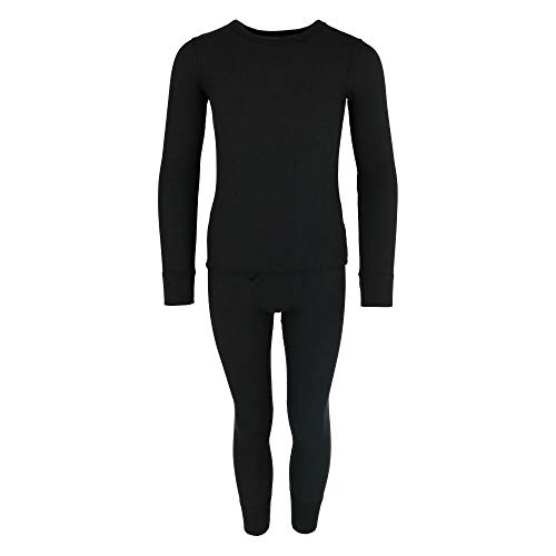 Fruit of the Loom Boy's Waffle Knit Insulated Top and Bottom Long Underwear Black