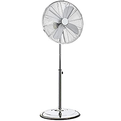 "Oypla Electrical 16"" Inch 40cm Chrome Metal Pedestal 3 Speed Stand Fan Cooling"